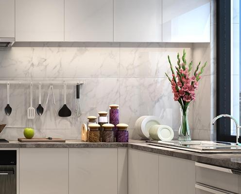 現代簡約廚房櫥柜組合3D模型【ID:728066304】