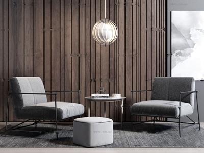 現代布藝休閑椅3D模型【ID:231398429】