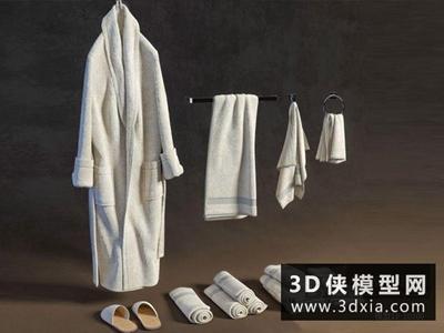 浴袍毛巾組合國外3D模型【ID:129521429】