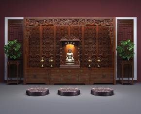 中式佛堂背景墙佛龛花架组合3D模型【ID:927822186】