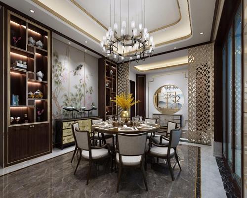新中式餐厅3D模型【ID:828141553】