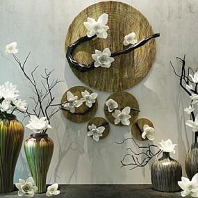 现代新中式花瓶装饰品花艺陈设品组合3D模型【ID:628043558】
