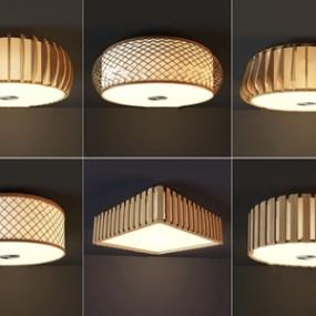 日式木质吸顶灯组合 3D模型【ID:842044061】