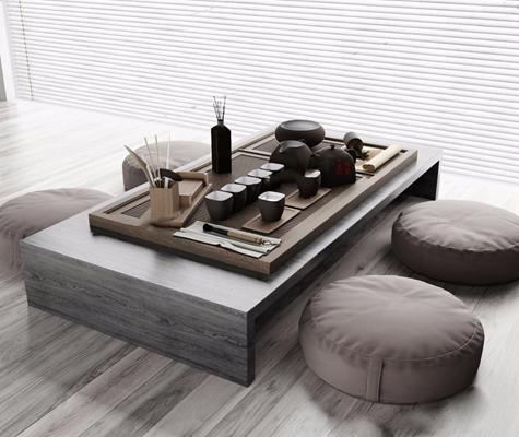 新中式茶具茶臺組合3D模型【ID:127852678】