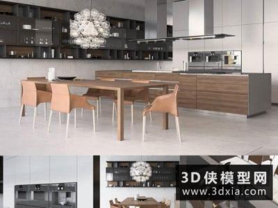 现代厨柜国外3D模型【ID:829360006】