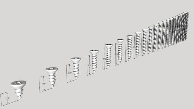 木螺钉-菲利普斯头-全螺纹SU模型【ID:939422299】