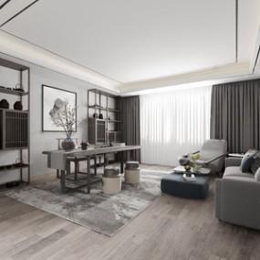新中式书房 3D模型【ID:541546469】