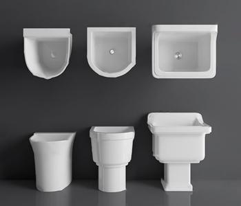 现代拖把池组合 现代卫浴用品 洁具 卫浴用品 清洁用品