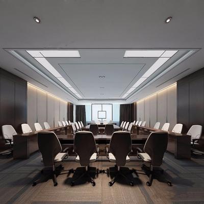 现代新中式会议室3D模型【ID:728083847】