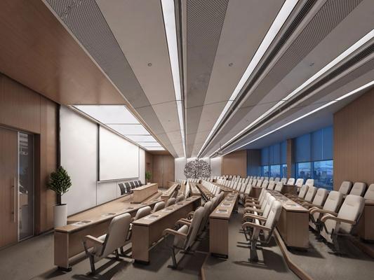 现代阶梯报告厅 现代会议室 连体椅子 桌子 阶梯报告厅 报告厅 教室