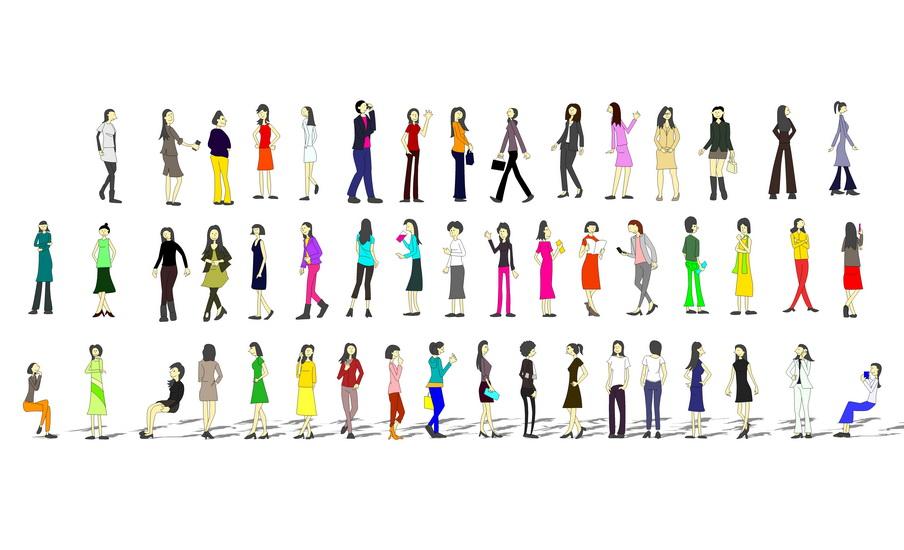 2D寫意人物女人組合SU模型【ID:136336717】