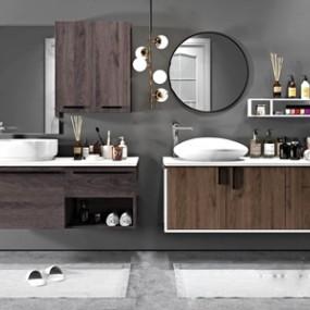 现代浴室柜台盆浴饰配件组合3D模型【ID:320823439】
