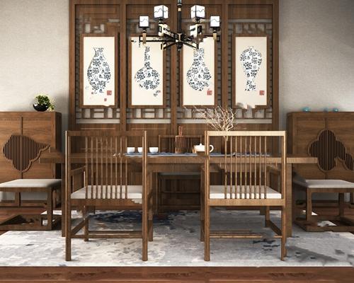 茶桌椅3D模型【ID:720024007】