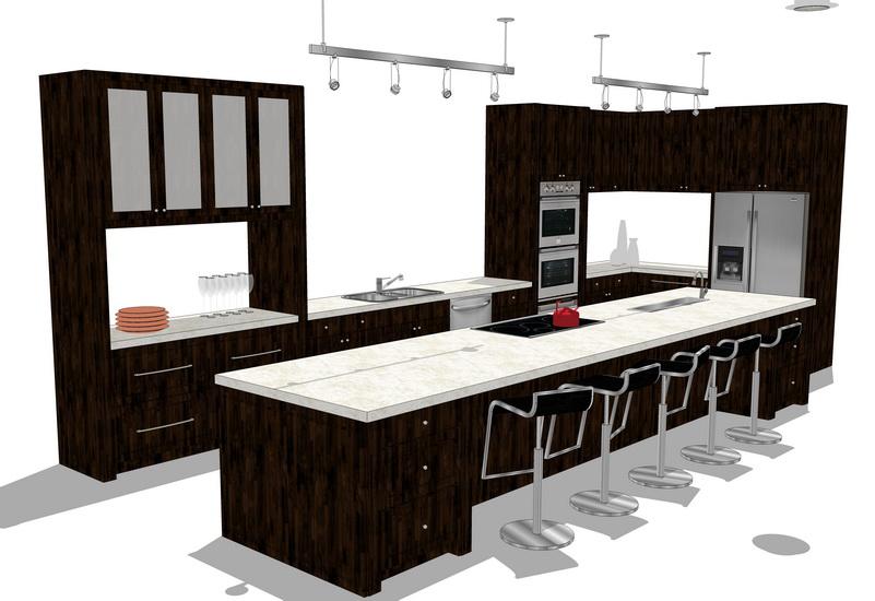 厨房橱柜组合SU模型【ID:736336142】