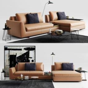 现代皮革转角沙发茶几边几摆件组合3D模型【ID:127754018】