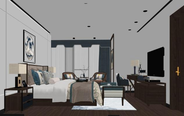 新中式卧室SU模型【ID:247621373】
