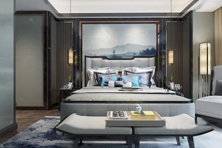 新中式卧室3d模型【ID:428270323】