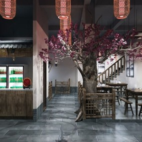 中式特色风格餐馆3D模型【ID:528291515】