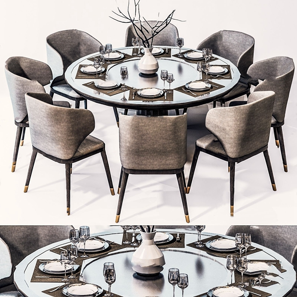 新中式圆形餐桌椅3D模型【ID:845862846】