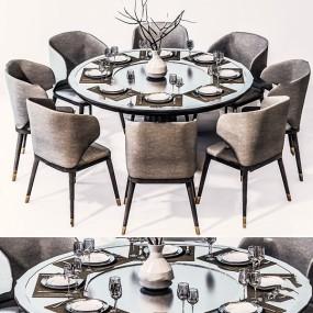 新中式圓形餐桌椅3d模型【ID:845862846】