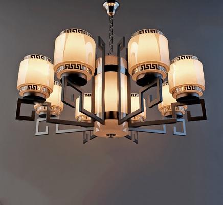 新中式吊灯3D模型【ID:220011833】