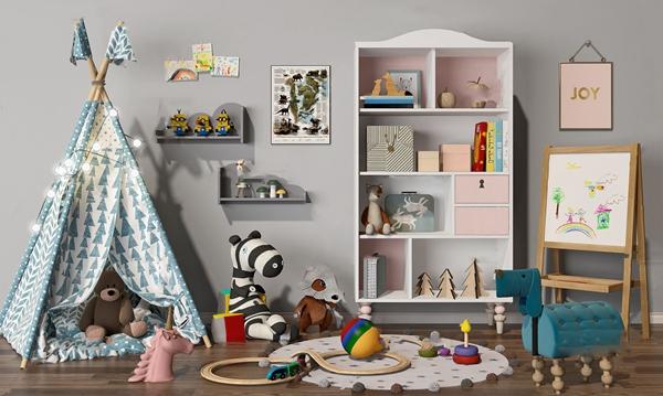 現代兒童書柜玩具3D模型【ID:147685188】