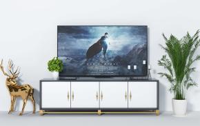 現代電視柜小鹿盆栽組合3D模型【ID:927815087】