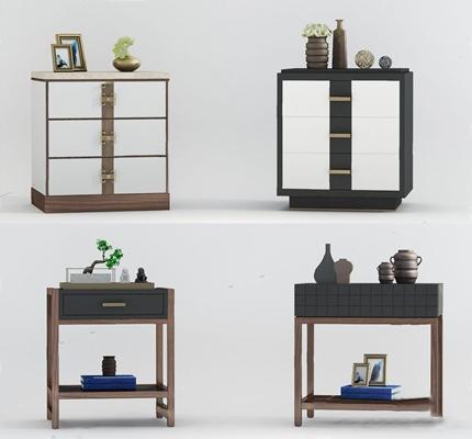 新中式床头柜组合3D模型【ID:928335624】