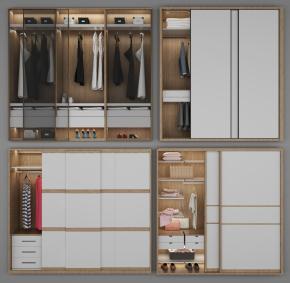 现代实木衣柜服饰组合3D模型【ID:927817932】