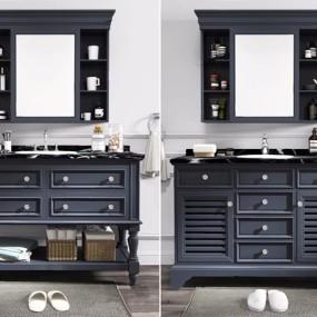 美式整体浴室柜镜壁柜五金配件组合3D模型【ID:128219747】