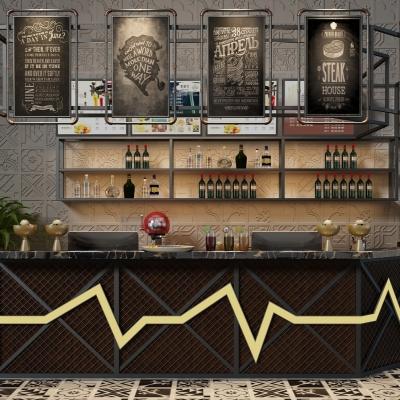 工业风收银台酒柜摆件组合3D模型【ID:927834220】