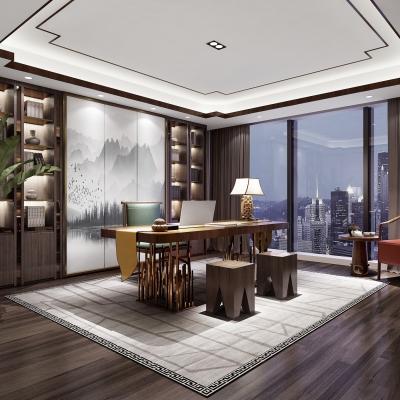 新中式书房3D模型【ID:128400714】
