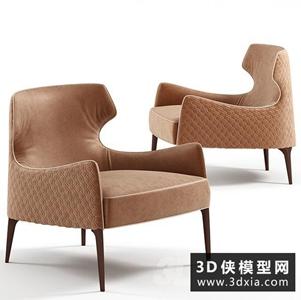 现代单人休闲椅国外3D模型【ID:729321603】