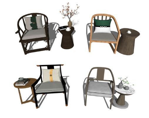 新中式单人椅子组合SU模型【ID:947330400】