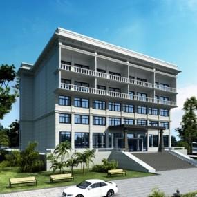 现代商住楼外观3D模型【ID:528012465】