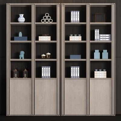 新中式实木书柜书籍饰品组合3D模型
