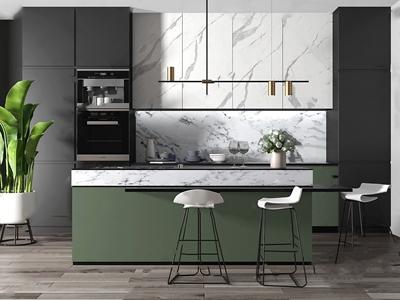 现代厨房吧台中岛组合3D模型【ID:932389293】