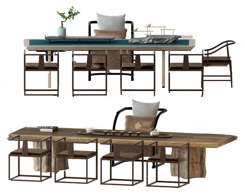 新中式实木泡茶桌椅3D模型【ID:242180421】