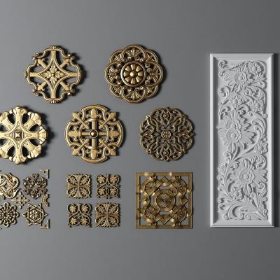 新中式金屬石膏雕刻雕花組合3D模型【ID:827814694】