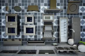 现代抽油烟机电磁炉烤箱组合3D模型【ID:827814318】