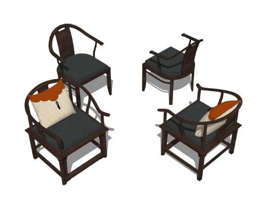 中式椅子組合SU模型【ID:946379406】
