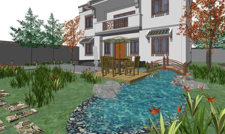 中式庭院景觀SU模型【ID:536338935】