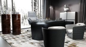 宾利现代办公桌大班台边柜摆件组合3D模型【ID:627805611】