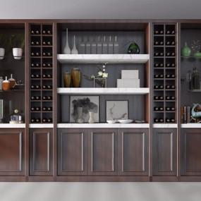 欧式酒柜3D模型【ID:928200047】