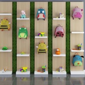 现代儿童书包玩具装饰架组合3D模型【ID:527803793】