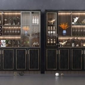 現代多功能酒柜3D模型【ID:647041257】