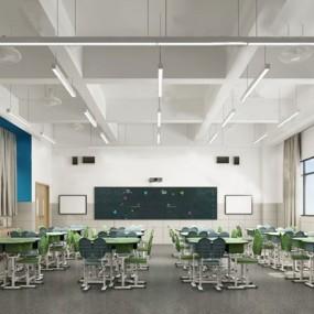 现代教室3D模型【ID:124892826】