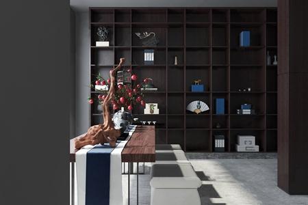 新中式茶室3D模型【ID:634736120】