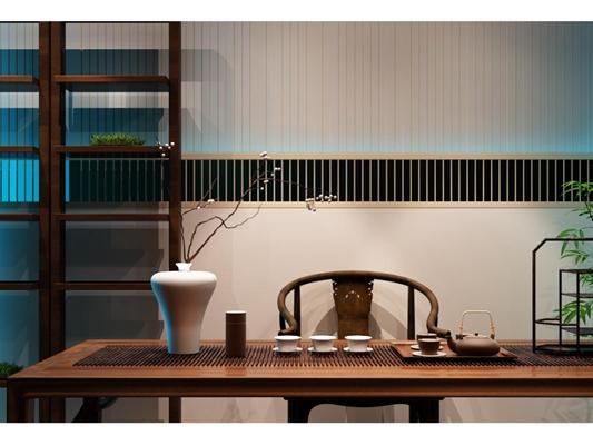 现代新中式茶室茶具摆件组合3D模型【ID:127845067】