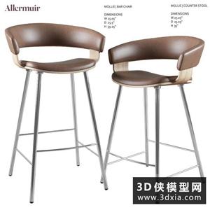 现代吧椅国外3D模型【ID:729323804】